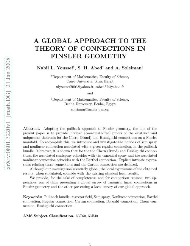 Nabil L. Youssef - A Global Approach to the Theory of Connections in Finsler Geometry