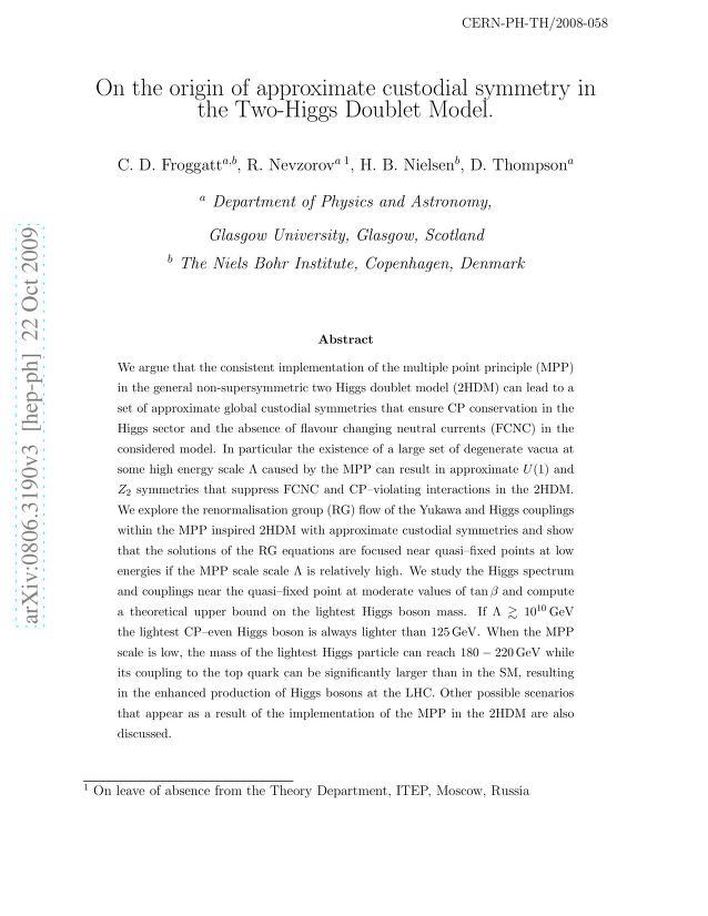 C. D. Froggatt - On the origin of approximate custodial symmetry in the Two-Higgs Doublet Model