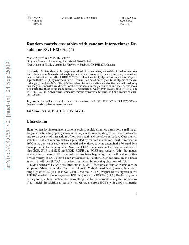 Manan Vyas - Random matrix ensembles with random interactions: Results for EGUE(2)-SU(4)