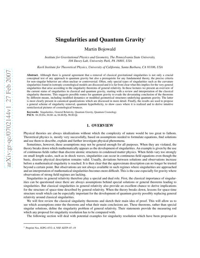 Martin Bojowald - Singularities and Quantum Gravity
