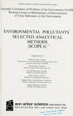Cover of: ENVIRONMENTAL POLLUTANTS SELECTED ANALYTICAL METHODS | Wilfred (compiler) gallay