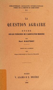 Cover of: La Question agraire | Karl Kautsky