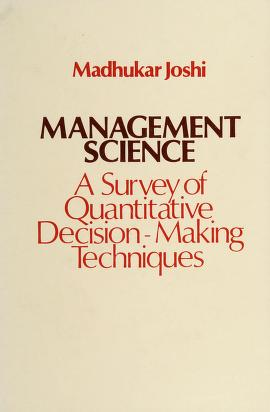 Cover of: Management science | Madhukar V. Joshi