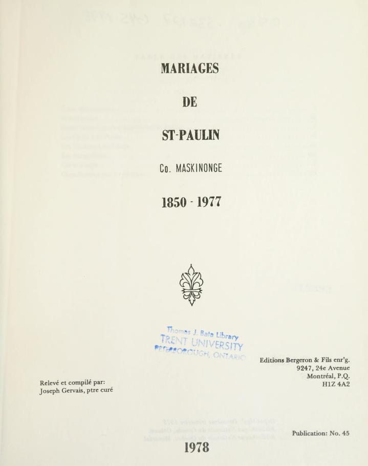 Mariages de St-Paulin, co. Maskinongé, 1850-1977 by Joseph Gervais